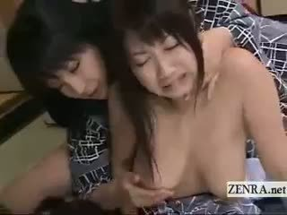 Subtitled Japanese Lesbian Duo With Schoolgirl And Milf