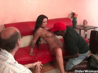 Cuckold pervert watches milf getting fucked
