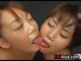 Bukkake With Two Asian Girls