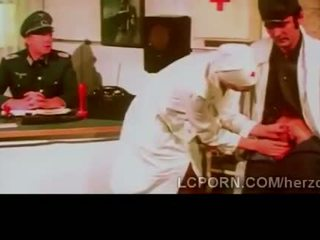 Beautiful blonde nurse fucks bunch of horny soldiers