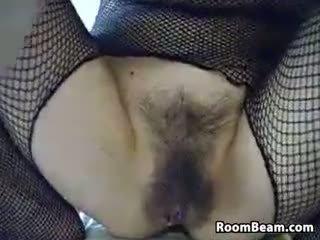 webcam, szóló, maszturbáció, szőrös