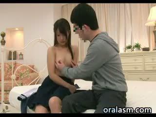 japanisch, kleine brüste, uniform