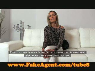 FakeAgent Blonde babe gets spunk shower in casting
