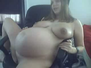 Young 9 Months Pregnant in Black Undies Teasing on Cam