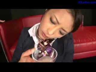 Office lady holding glass guys jerking to it drinking all on
