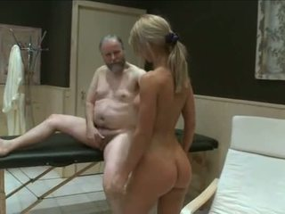 Two young girls fuck old garndpa in sauna