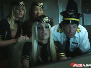 Busty flight attendants fucked big cock