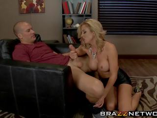 Blonde MILF Babe with an Amazing Body Uses a Young Stud