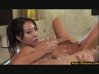 Asian Body to body massage ends with a cum swallow