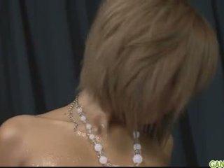 Oiled up blond pervert Riku Hinano pussy fond