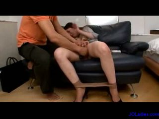 Office lady stimulated and fucked with toys on the couch