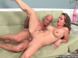 Hot milf Holly West takes cumshot on her tits