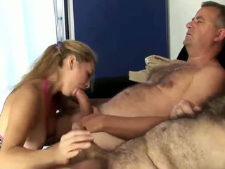 Husband Sharing His Lovely Sexy Wife with Old Granpa.