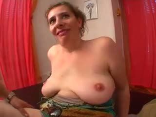 Sweet mom with flabby saggy tits & guy