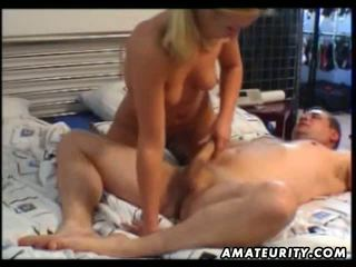 Young amateur girlfriend home action with facial