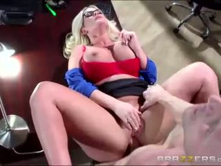 Big tittied officemate sucks cock deeply