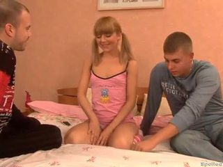 Sweet beauty playing with hunks