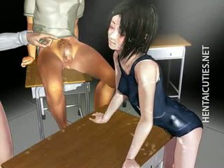 Sexy 3D anime bitch gets double fucked