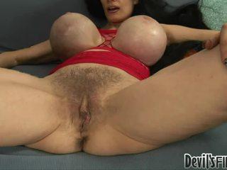hairy pussy, big breast, dark hair
