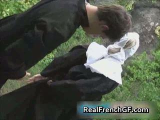 Slutty prancūziškas vienuolė pakliuvom už porno