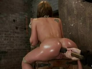 Amy brooke hog fastened with a huge dildo pushed in her wazoo