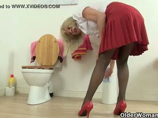 British milfs Molly and Elaine having fun in the bathroom