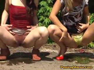 2 Cute Prostitutes Peeing Inside Forest And Enjoy Here