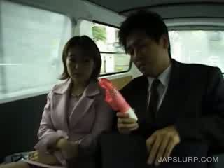 Jap adorable gets body toyed in car