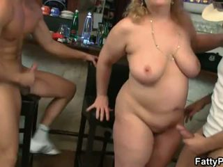 Fatty Pub: Nasty fatty takes two hard dicks
