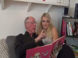 Hot blonde fucked by old man