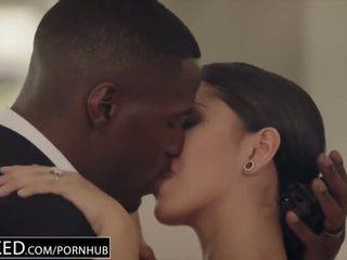 brunette, kissing, bbc