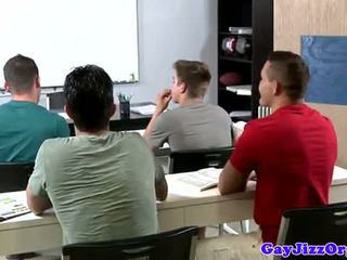 Cumshot loving teacher dominated in class