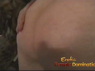 Lusty redhead slut ties her man down and pleasures his cock