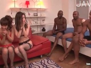 japanese, group sex, cumshot