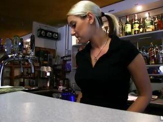 Barmaid Lenka nailed at the bar for cash