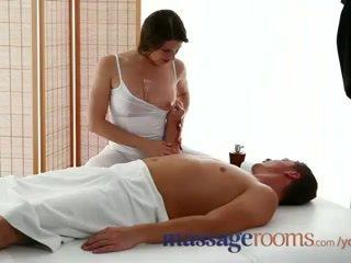 Massage Rooms Sexy masseuse girl with big boobs sucks and fucks hard dick