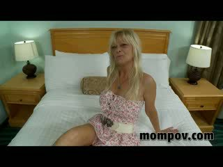 Busty milf fucking chick dong in hotel...