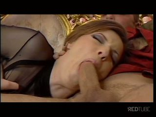 Smoking babe takes two cocks in her ass