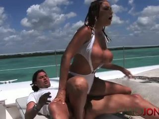 Hot latin chick assfucked on boat