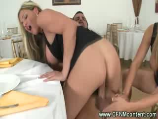 Milfs kissing while watch couple make out