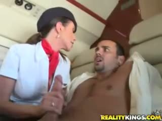 Hot flight attendents ariella ferrera and aimee addison give in flight bukkake