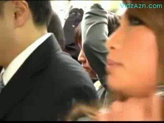 Many schoolgirls patting guy rubbing bumaltak titi sa ang bus