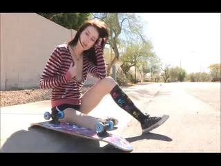 Aiden Onto The Street Skateboarding And Undressing Bare