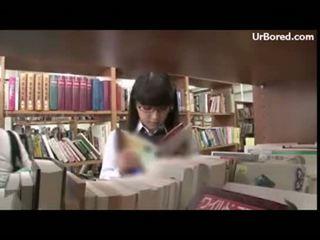 Κορίτσι του σχολείου γαμημένος/η με βιβλιοθήκη geek 01
