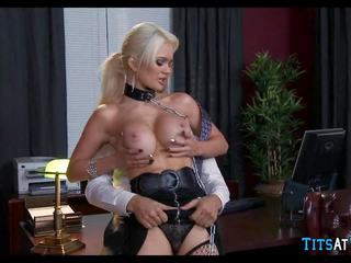 Collared Blonde Sex Toy at Work, Free HD Porn ec