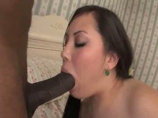 Tina Lee sucks a black cock before fucking it
