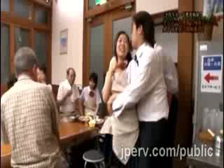 Stud goes rough with babe Japanese Gf during family dinner