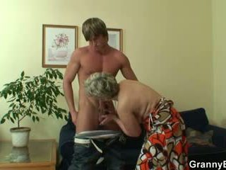 Old bitch pleases hot-looking young st...