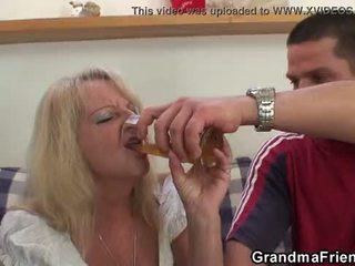 Partying guys nail blondinka grandmother