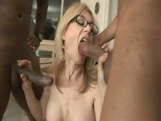 White Blonde drives home to two black guys to get fucked in black stockings